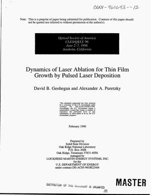 Primary view of object titled 'Dynamics of laser ablation for thin film growth by pulsed laser deposition'.