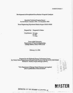 Primary view of object titled 'Development of precipitated iron Fischer-Tropsch catalysts. Quarterly technical progress report, 1 October 1995--31 December 1995'.
