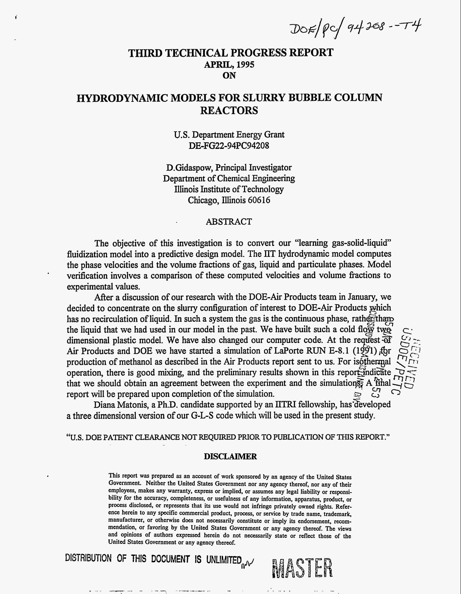 Hydrodynamic models for slurry bubble column reactors. Third technical progress report, January 1995--March 1995                                                                                                      [Sequence #]: 1 of 20
