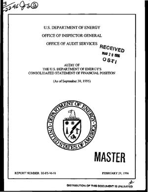 Primary view of object titled 'Audit of the US Department of Energy`s consolidated statement of financial position as of September 30, 1995'.