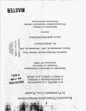 Primary view of object titled 'Radiation/turbulence interactions in pulverized-coal flames. Second year technical progress report, September 30, 1994--September 30, 1995'.
