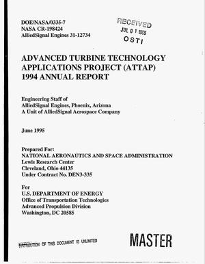 Primary view of object titled 'Advanced Turbine Technology Applications Project (ATTAP). 1944 Annual report'.