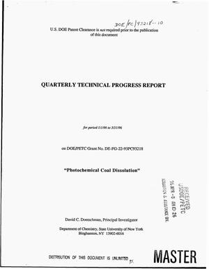 Primary view of object titled 'Photochemical coal dissolution. Quarterly technical progress report, January 1--March 31, 1996'.