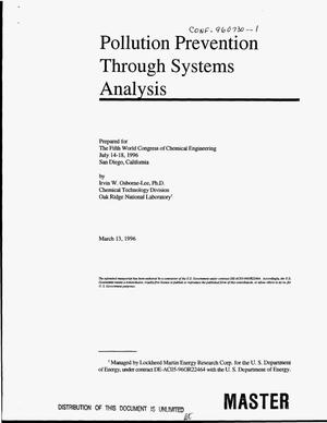 Primary view of object titled 'Pollution prevention through systems analysis'.