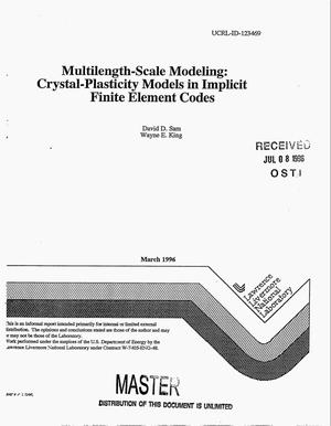 Primary view of object titled 'Multilength-scale modeling: Crystal-plasticity models in implicit finite element codes'.