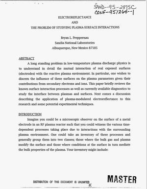 Primary view of object titled 'Electroreflectance and the problem of studying plasma-surface interactions'.