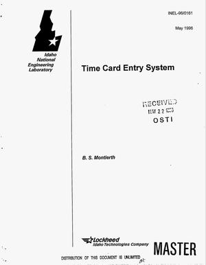 Primary view of object titled 'Time card entry system'.