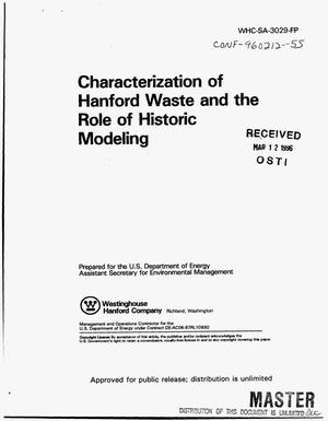 Primary view of object titled 'Characterization of Hanford waste and the role of historic modeling'.