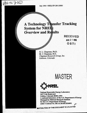 Primary view of object titled 'A technology transfer tracking system for NREL: Overview and results'.