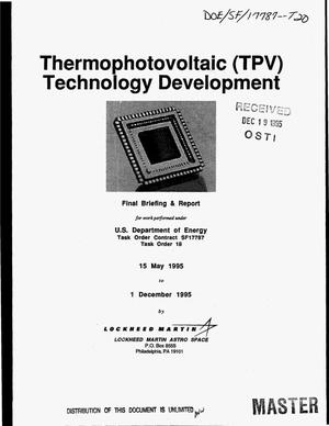 Primary view of object titled 'Thermophotovoltaic (TPV) technology development. Final report, May 15, 1995--December 1, 1995'.