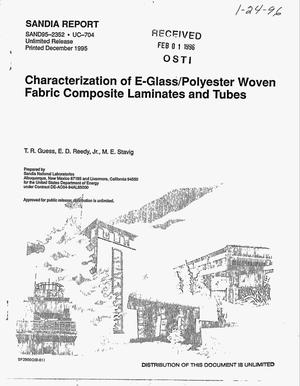 Primary view of object titled 'Characterization of E-glass/polyester woven fabric composite laminates and tubes'.