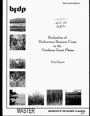 Primary view of object titled 'Evaluation of herbacceous biomass crops in the northern Great Plains. Final report'.