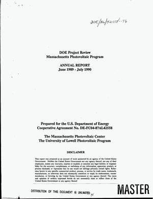 Primary view of object titled 'DOE project review Massachusetts Photovoltaic Program. Annual report, June 1989--July 1990'.