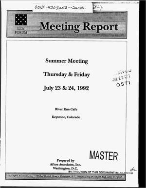 Primary view of object titled 'Low-level waste forum meeting reports'.