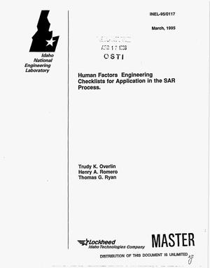 Primary view of object titled 'Human factors engineering checklists for application in the SAR process'.