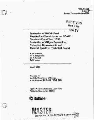 Primary view of object titled 'Evaluation of HWVP feed preparation chemistry for an NCAW simulant -- Fiscal Year 1991: Evaluation of offgas generation, reductant requirements and thermal stability: Technical report'.