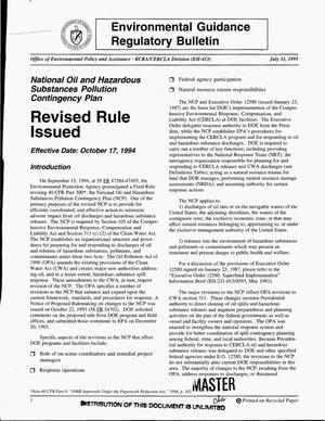 Primary view of object titled 'Environmental Guidance Regulatory Bulletin - revised rule issued, October 17, 1994'.