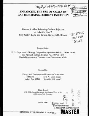 Primary view of object titled 'Enhancing the use of coals by gas reburning-sorbent injection: Volume 4 -- Gas reburning-sorbent injection at Lakeside Unit 7, City Water, Light and Power, Springfield, Illinois. Final report'.