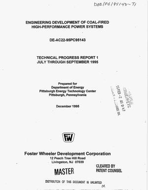 Primary view of object titled 'Engineering development of coal-fired high-performance power systems. Technical progress report 1, July through September 1995'.