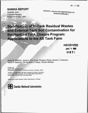 Primary view of object titled 'Stabilization of In-Tank Residual Wastes and External-Tank Soil Contamination for the Hanford Tank Closure Program: Applications to the AX Tank Farm'.