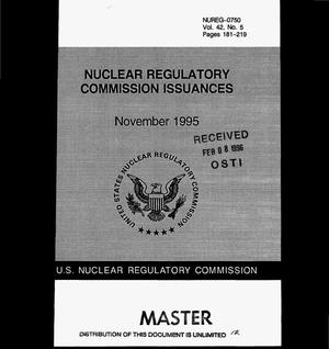 Primary view of object titled 'Nuclear Regulatory commission issuances, Volume 42, No. 5'.