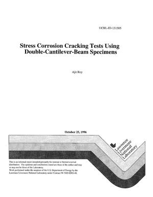 Primary view of object titled 'Stress corrosion cracking tests using double-cantilever-beam specimens'.
