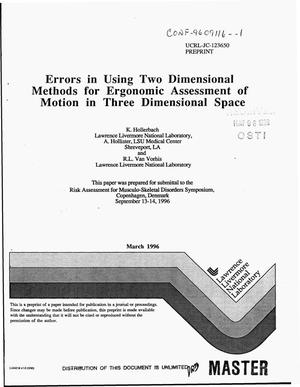 Primary view of object titled 'Errors in using two dimensional methods for ergonomic assessment of motion in three dimensional space'.