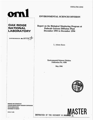 Primary view of object titled 'Report on the biological monitoring program at Paducah Gaseous Diffusion Plant December 1993 to December 1994'.