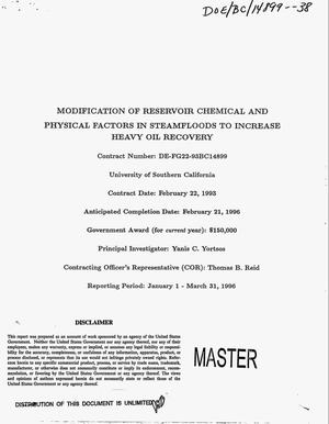 Primary view of object titled 'Modification of reservoir chemical and physical factors in steamfloods to increase heavy oil recovery. [Quarterly report], January 1--March 31, 1996'.