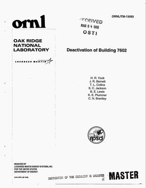 Primary view of object titled 'Deactivation of Building 7602'.