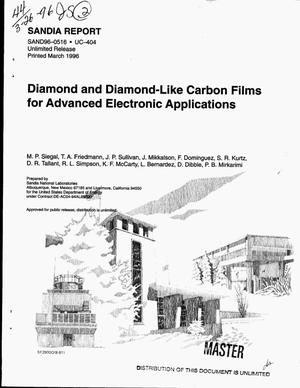 Primary view of object titled 'Diamond and diamond-like carbon films for advanced electronic applications'.