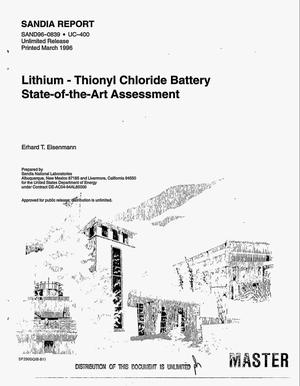 Primary view of object titled 'Lithium: Thionyl chloride battery state-of-the-art assessment'.