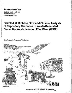 Primary view of object titled 'Coupled multiphase flow and closure analysis of repository response to waste-generated gas at the Waste Isolation Pilot Plant (WIPP)'.
