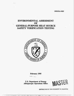 Primary view of object titled 'Environmental assessment of general-purpose heat source safety verification testing'.