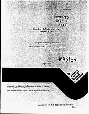 Primary view of object titled 'Chemistry and materials science progress report. Weapons-supporting research and laboratory directed research and development: FY 1995'.