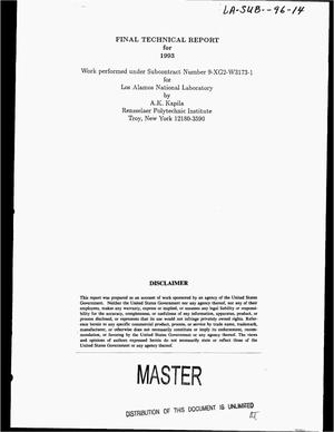 Primary view of object titled 'Final technical report for 1993'.