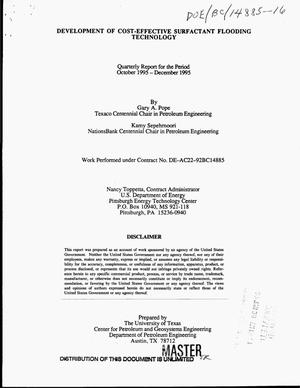 Primary view of object titled 'Development of cost-effective surfactant flooding technology, Quarterly report, October 1995--December 1995'.