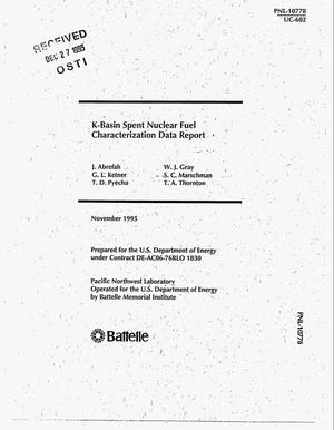 Primary view of object titled 'K-Basin spent nuclear fuel characterization data report'.