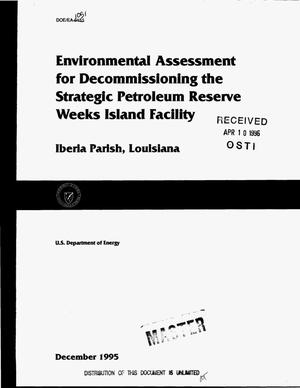 Primary view of object titled 'Environmental Assessment for decommissioning the Strategic Petroleum Reserve Weeks Island Facility, Iberia Parish, Louisiana'.