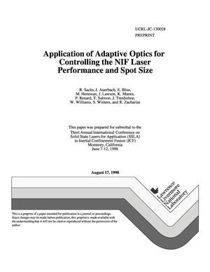 Primary view of object titled 'Application of adaptive optics for controlling the NIF laser performance and spot size'.