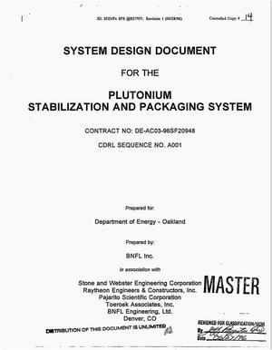 Primary view of object titled 'System specification for the plutonium stabilization and packaging system'.