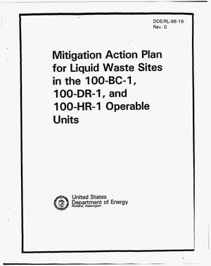 Primary view of object titled 'Mitigation action plan for liquid waste sites in the 100-BC-1, 100-DR-1, and 100-HR-1 units'.