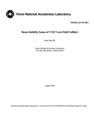 Primary view of object titled 'Beam stability issues of 3 TeV low-field collider'.