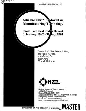 Primary view of object titled 'Silicon-film{sup {trademark}} photovoltaic manufacturing technology. Final technical status report, January 1, 1992--July 31, 1995'.