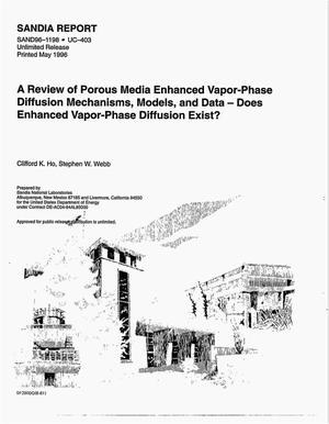 Primary view of object titled 'A review of porous media enhanced vapor-phase diffusion mechanisms, models, and data: Does enhanced vapor-phase diffusion exist?'.