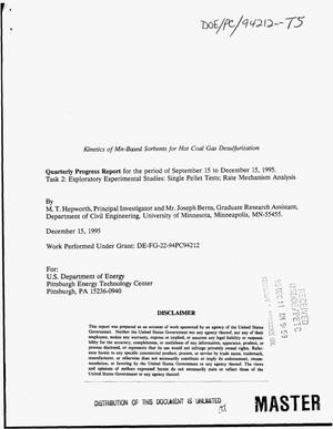 Primary view of object titled 'Kinetics of Mn-based sorbents for hot coal gas desulfurization. Quarterly progress report, September 15, 1995--December 15, 1995'.