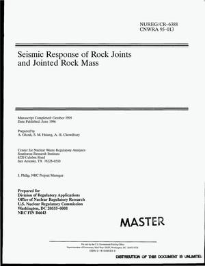 Primary view of object titled 'Seismic response of rock joints and jointed rock mass'.