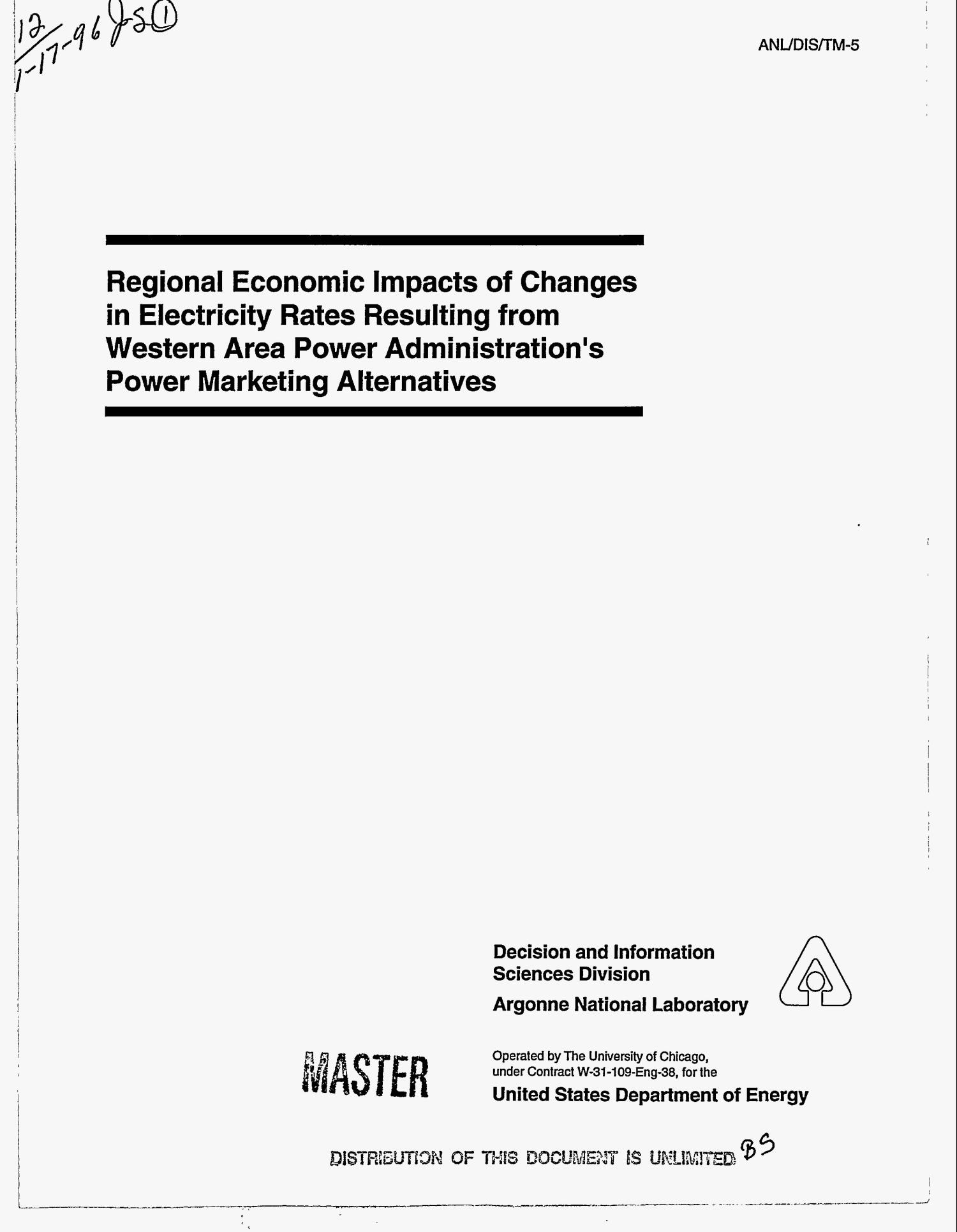Regional economic impacts of changes in electricity rates resulting from Western Area Power Administration`s power marketing alternatives                                                                                                      [Sequence #]: 1 of 98
