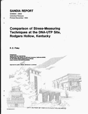 Primary view of object titled 'Comparison of stress-measuring techniques at the DNA-UTP site, Rodgers Hollow, Kentucky'.
