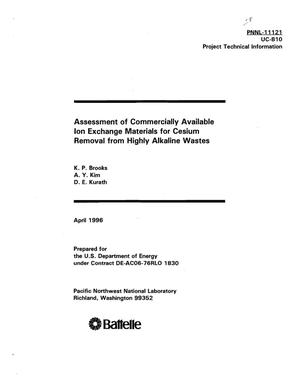 Primary view of object titled 'Assessment of commercially available ion exchange materials for cesium removal from highly alkaline wastes'.